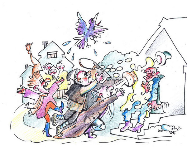 История на картине «Город дураков» из «Анекдотов или веселых похождений старинных пошехонцев».