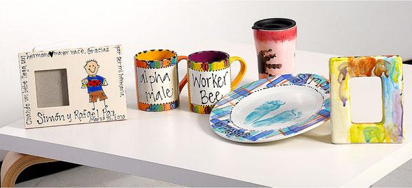 Piezas de cafe pintado