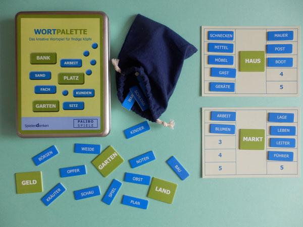 WORTPALETTE        Spielendenken Kreatives Wortspiel für findige Köpfe  Dieses spannende Denkspiel trainiert Wortfindung, Denkflexibilität und Fantasie. Suchen Sie  durch geschicktes Kombinieren der 1