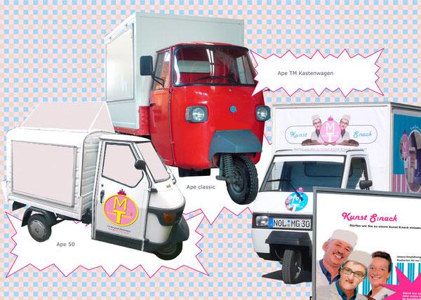 Bisherige Realisierungen mobil in typischer Kioskästhetik in verschiedenen Dreirädern