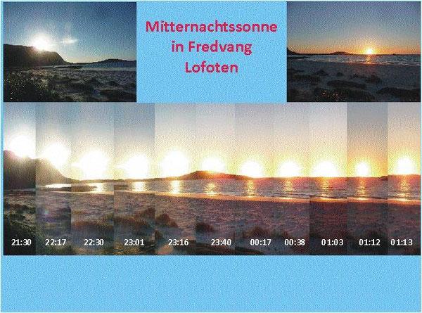 Zusammenschnitt einiger Fotos von der Sonne vor und nach Mitternacht in der Zeitschiene