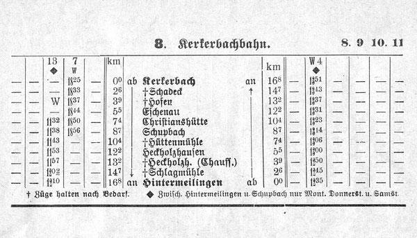 Fahrplan 1934 - 35 nur ein Zug ?!?