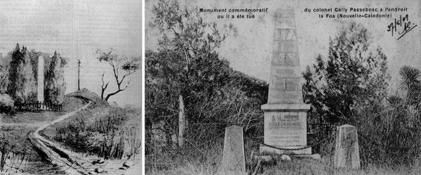 LES DEUX MONUMENTS SUCCESSIVEMENT ÉRIGÉS À LA MÉMOIRE DU COLONEL GALLY-PASSEBOSC.