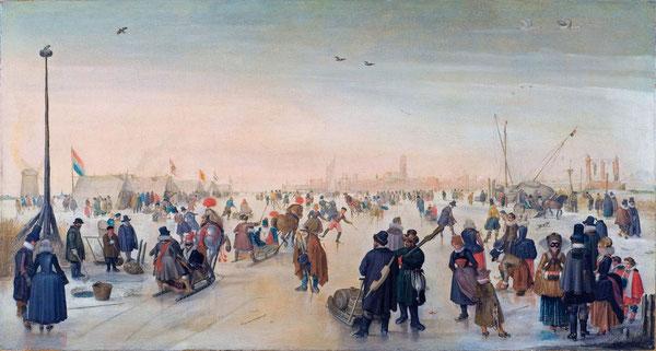 Winters landschap bij de stad Kampen ( Werk van de schilder Hendrick Avercamp, bijgenaamd de stomme van Kampen )