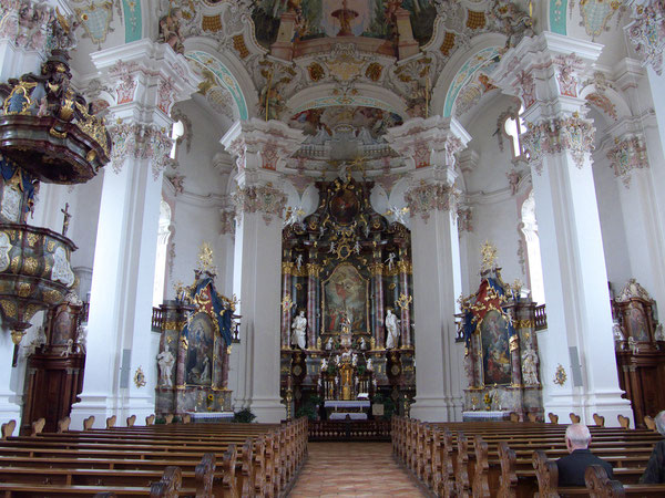 Steinhausen (Bad Schussenried) Wallfahrtskirche/Pilgrimage church of Steinhausen (Bad Schussenried), Germany, Lumix Fz18. Foto: Eleonore Schindler von Wallenstern.