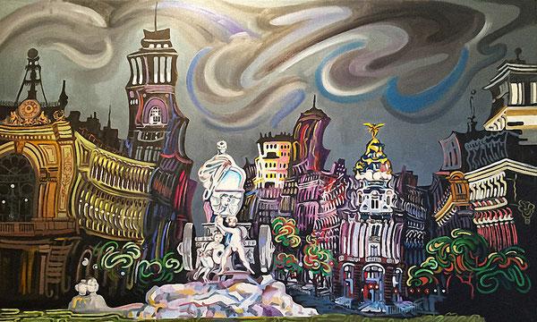 FUENTE DE CIBELES (MADRID). Oleo sobre lienzo. 89 x 146 x 3,5 cm.