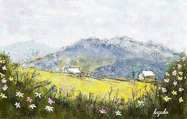 山とコスモス