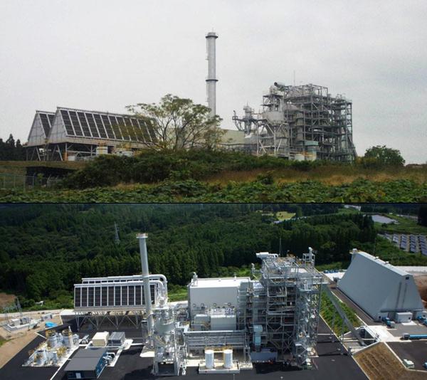 写真上:豊後大野発電所(筆者撮影)、写真下:発電所の全景(©株式会社ファーストエスコ )