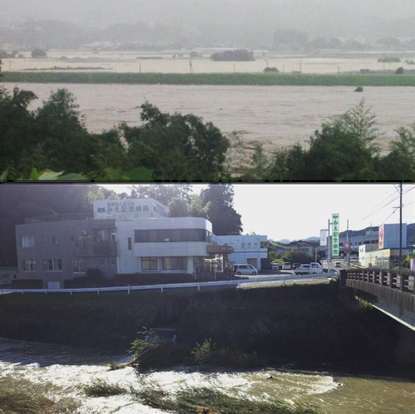 写真上:9月17日午後4時54分に撮影した大分市白滝橋手前の大野川沿いの風景。河畔の大野川ゴルフコースや周辺の水田はほぼ水没している。写真下:翌日撮影した当院側を流れる台風一過の風景。いつもは水量が少ない三重川が増量している。