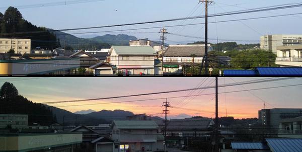 みえ記念病院2階から眺めた朝と夕方の風景です。当院から歩いて1分ほどの豊後大野市役所(写真右端)から、午後5時になると市歌「ふるさとおおの」のミュージックサイレンが流れてきます。夕方の写真の遠景には祖母・傾山が写っています。