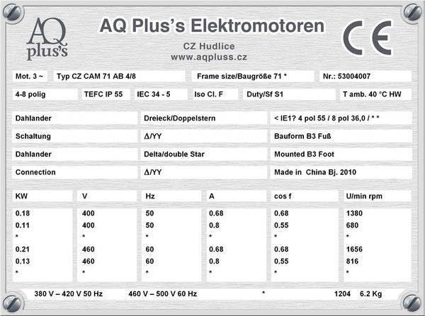 0,18/0,11 KW, 4/8 polig, 2 Drehzahlen, konstantes Gegenmoment, Dahlander, B3 Fußmotor, Tabellen im Downloadbereich.