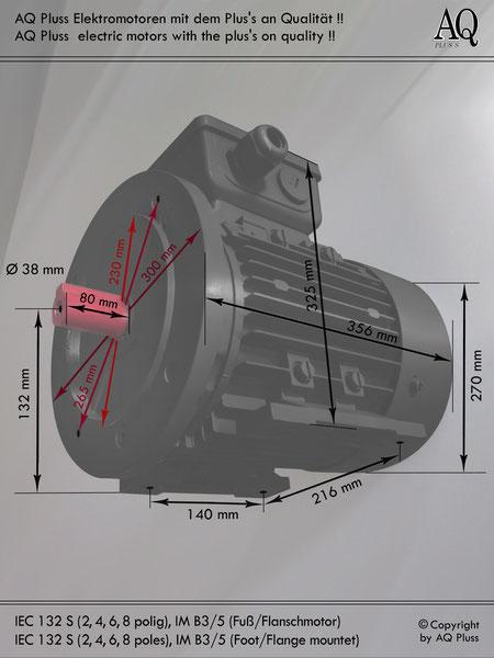 Elektromotor B3/5 Fuß/Flansch-Motor, IEC 132 S diese Baugröße beinhaltet mehrere Leistungen und Drehzahlen.