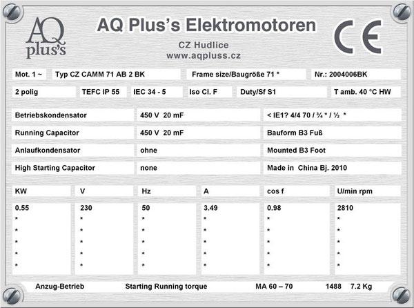 0,55 KW, 2 polig, B3 Fußmotor, OHNE  (OHNE !!) Anlaufkondensator, nur mit Betriebskondensator, Leichtanzug.