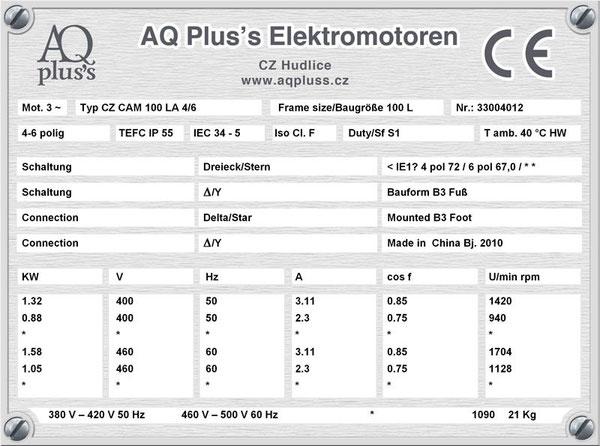 1,32/0,88 KW, 4/6 polig, 2 Drehzahlen, konstantes Gegenmoment, Dahlander, B3 Fußmotor, Tabellen im Downloadbereich.
