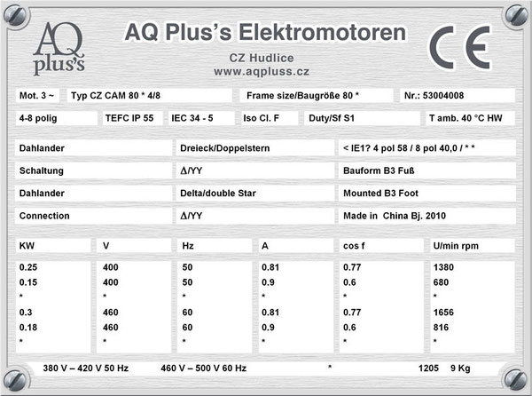 0,25/0,15 KW, 4/8 polig, 2 Drehzahlen, konstantes Gegenmoment, Dahlander, B3 Fußmotor, Tabellen im Downloadbereich.