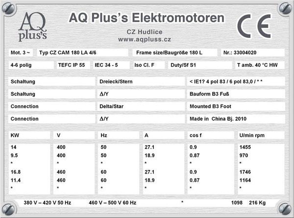 14/9,5 KW, 4/6 polig, 2 Drehzahlen, konstantes Gegenmoment, Dahlander, B3 Fußmotor, Tabellen im Downloadbereich.