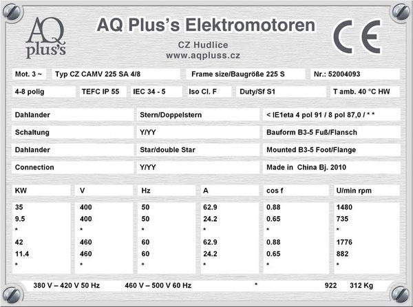 35/9,5 KW, 4/8 polig, Dahlandermotor, quadratisches Gegenmoment, B3 Fußmotor, Lüfterantrieb.