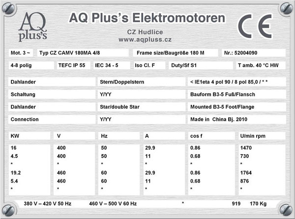 16/4,5 KW, 4/8 polig, Dahlandermotor, quadratisches Gegenmoment, B3 Fußmotor, Lüfterantrieb.