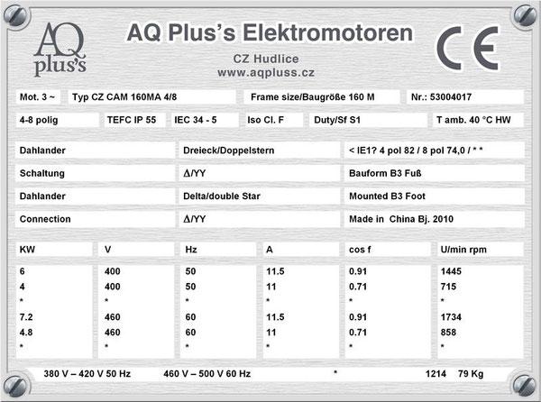 6/4 KW, 4/8 polig, 2 Drehzahlen, konstantes Gegenmoment, Dahlander, B3 Fußmotor, Tabellen im Downloadbereich.