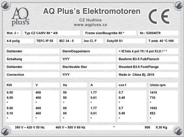 0,55/0,09 KW, 4/8 polig, Dahlandermotor, quadratisches Gegenmoment, B3 Fußmotor, Lüfterantrieb.