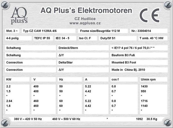 2,2/1,5 KW, 4/6 polig, 2 Drehzahlen, konstantes Gegenmoment, Dahlander, B3 Fußmotor, Tabellen im Downloadbereich.