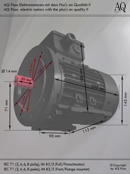 Elektromotor B3/5 Fuß/Flansch-Motor, IEC 71 diese Baugröße beinhaltet mehrere Leistungen und Drehzahlen.