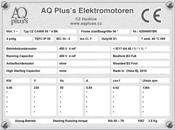 0,06 KW, 4 polig, B3 Fußmotor, OHNE  (OHNE !!) Anlaufkondensator, nur mit Betriebskondensator, Leichtanzug.