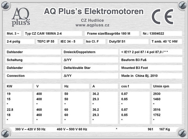 19/15 KW, 4/2 polig, 2 Drehzahlen, konstantes Gegenmoment, Dahlander, B3 Fußmotor, Tabellen im Downloadbereich.