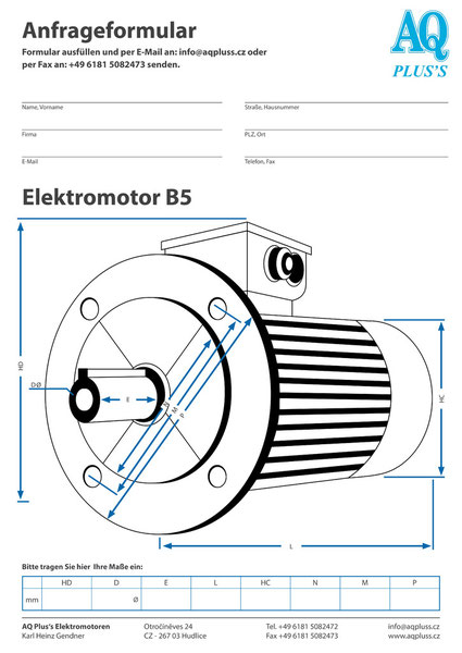 B5 Flanschbauform, 3 Flanschmaße Durchmesser, Welle Durchmesser und Länge, Buchstaben gleich wie oben.