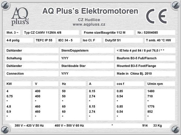 4/0,75 KW, 4/8 polig, Dahlandermotor, quadratisches Gegenmoment, B3 Fußmotor, Lüfterantrieb.