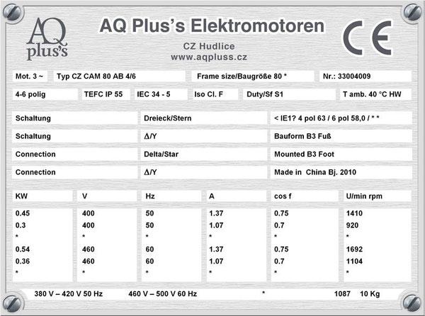 0,45/0,3 KW, 4/6 polig, 2 Drehzahlen, konstantes Gegenmoment, Dahlander, B3 Fußmotor, Tabellen im Downloadbereich.