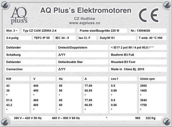 43/36 KW, 4/2 polig, 2 Drehzahlen, konstantes Gegenmoment, Dahlander, B3 Fußmotor, Tabellen im Downloadbereich.
