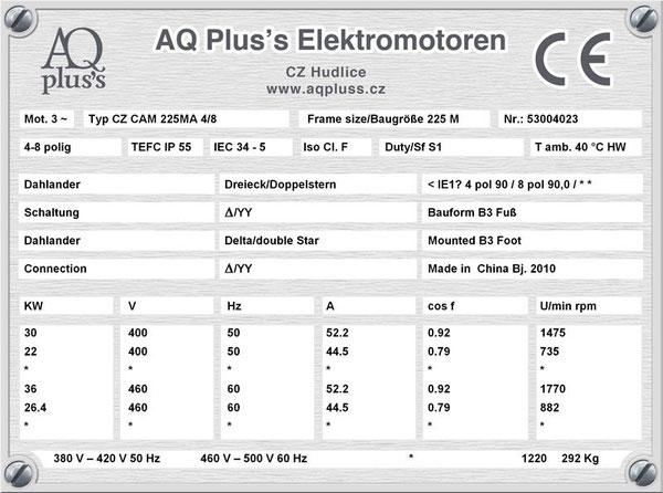 30/22 KW, 4/8 polig, 2 Drehzahlen, konstantes Gegenmoment, Dahlander, B3 Fußmotor, Tabellen im Downloadbereich.