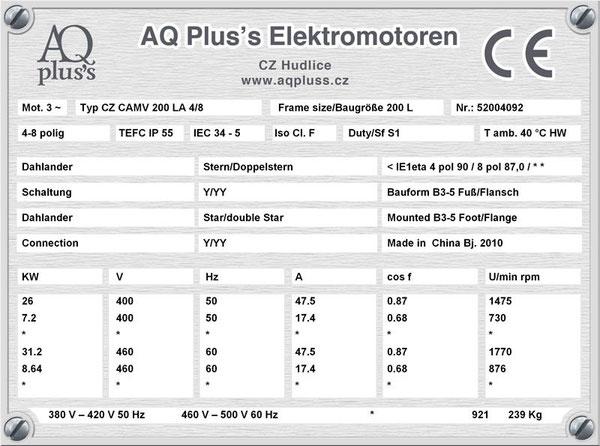 26/7,2 KW, 4/8 polig, Dahlandermotor, quadratisches Gegenmoment, B3 Fußmotor, Lüfterantrieb.