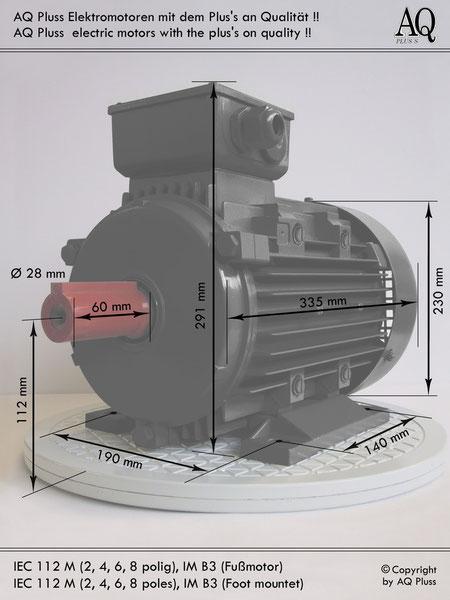 Elektromotor B3 Fußmotor, IEC 112M diese Baugröße beinhaltet  mehreren Leistungen und Drehzahlen.
