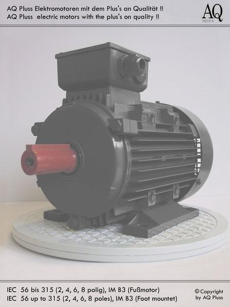 Elektromotor B3 Fußmotor, Klarbild ohne Maßzahlen und Maßpfeile; IEC 56 bis IEC 315.