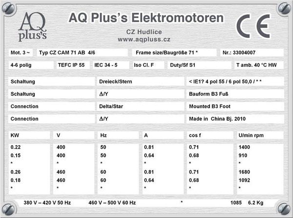 0,22/0,15 KW, 4/6 polig, 2 Drehzahlen, konstantes Gegenmoment, Dahlander, B3 Fußmotor, Tabellen im Downloadbereich.