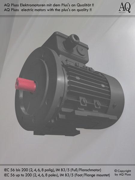 Elektromotor B3/5 Fuß/Flansch-Motor, Klarbild ohne Maßpfeile und ohne Maßzahlen, IEC 56 bis IEC 315.