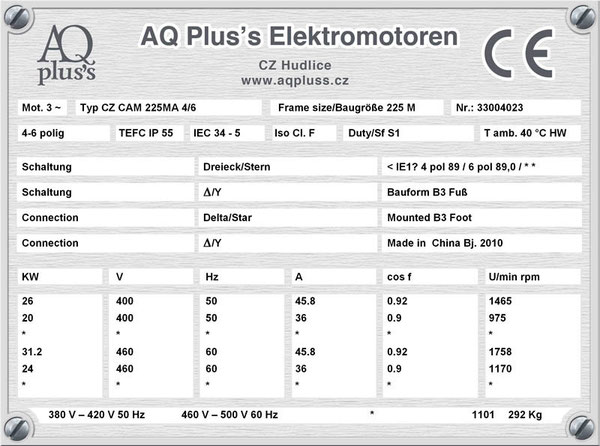 26/20 KW, 4/6 polig, 2 Drehzahlen, konstantes Gegenmoment, Dahlander, B3 Fußmotor, Tabellen im Downloadbereich.