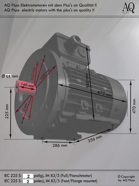 Elektromotor B3/5 Fuß/Flansch-Motor, IEC 225 S ( nur 2 polige ) diese Baugröße beinhaltet mehrere Leistungen und Drehzahlen.