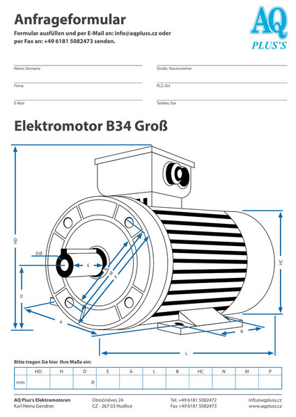 B34groß Fuß/Flansch-Bauform, Wellendurchmesser und Länge, Flanschdurchmesser 3, die Fußmaße längs und quer.