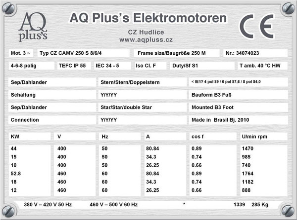 44/15/10 KW, 4/6/8 polig, 3 Drehzahlen Lüftermotor, Dahlander/2 Wicklungen, B3 Fußmotor, Tabellen im Downloadbereich.