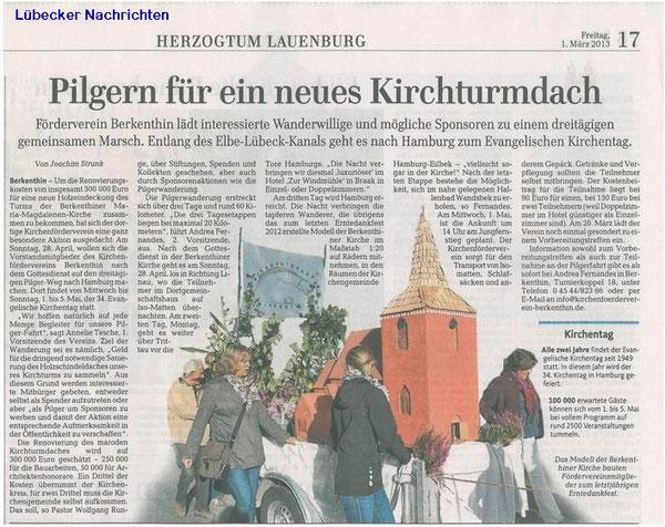 01.März 2013 - LN - Pilgern für ein neues Kirchendach
