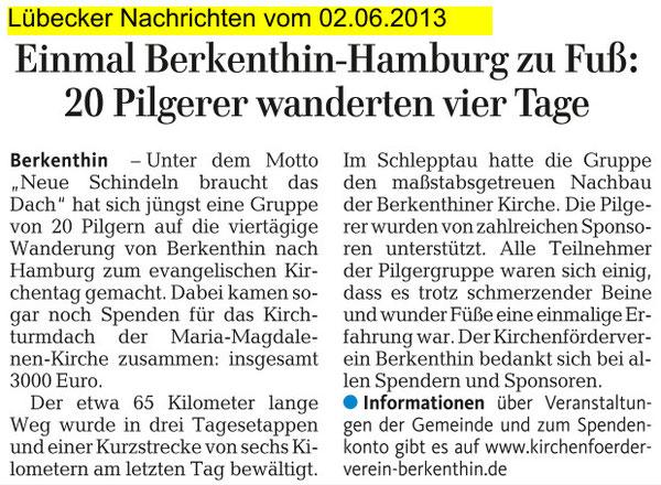 02.Juni 2013 - LN - Einmal Berkenthin-Hamburg zu Fuß
