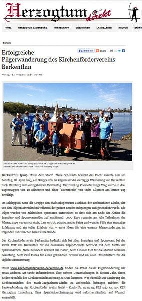 11.Mai 2014 - Herzogtum Direkt -  Erfolgreiche Pilgerwanderung des Kirchenfördervereins Berkenthin