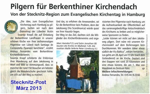 Stecknitz-Post März 2013 - Pilgern für Berkenthiner Kirchendach
