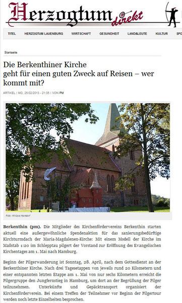 25.Feb. 2013 Herzogtum direkt - Die Berkenthiner Kirche geht für einen guten Zweck auf Reisen