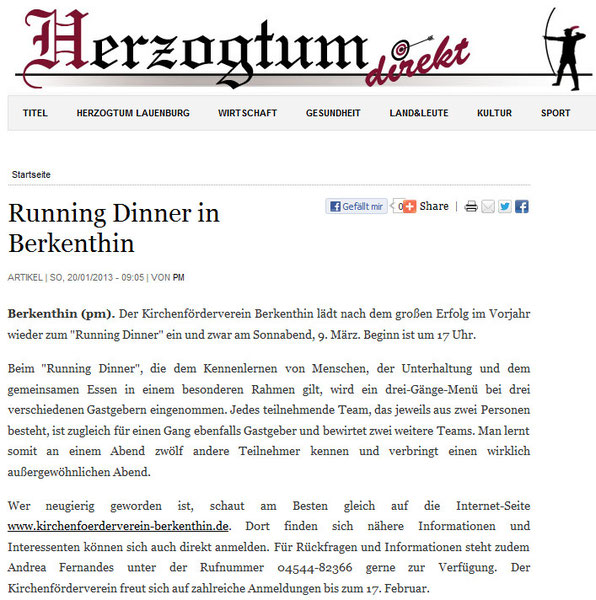 20. Jan. 2013 Herzogtum direkt - Running Dinner in Berkenthin