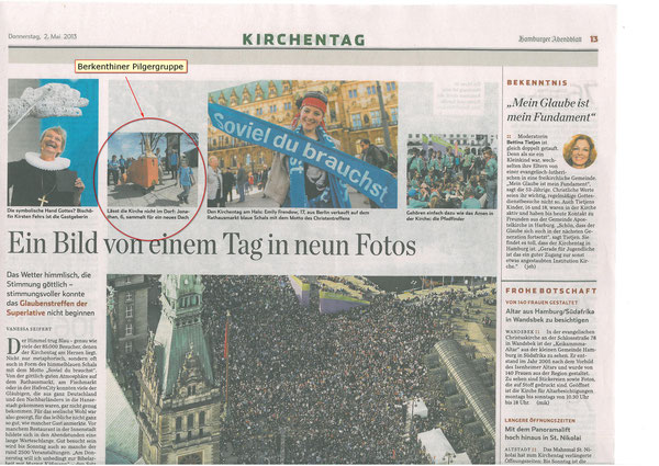 Hamburger Abendblatt vom  2.Mai 2013 - Bericht vom HH-Kirchentag