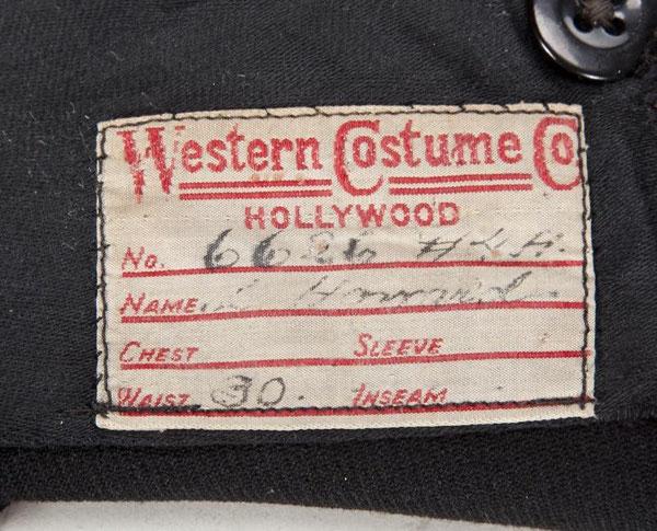 Etiquette de le WESTERN COSTUME COMPANY du pantalon.